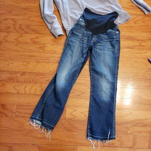 7 For All Mankind MATERNITY JEANS size 27 raw hem